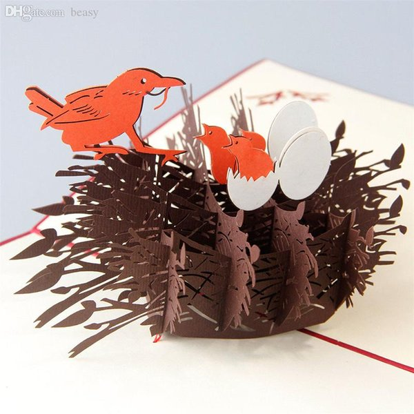 Wholesale-3D Pop Up Grußkarte Vogelnest Vatertag Ostern Geburtstag Danke KT0127