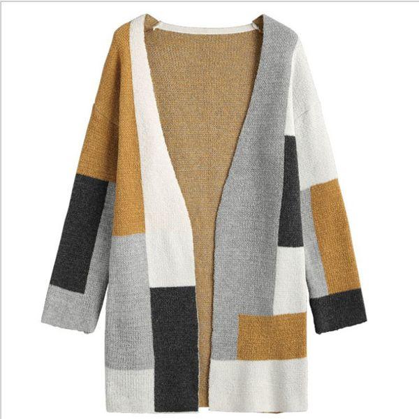 Las mujeres se caen y abrigos de invierno de 2019 Nueva Empalme color coloreado manga larga suelta a medio y largo de punto camiseta abridor WGWY159