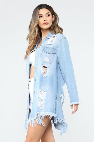 Модные женские рваные джинсовые куртки с длинным рукавом отворот шеи промывают потертые пальто Модные повседневные весенние женские пиджаки