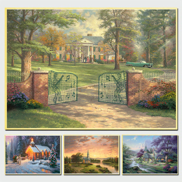 Thomas Kinkade Christmas.2019 Thomas Kinkade Christmas Chapel Hd Canvas Prints Wall Art Painting Pictures For Living Room Modern Home Decor Unframed Framed From Hui Yang