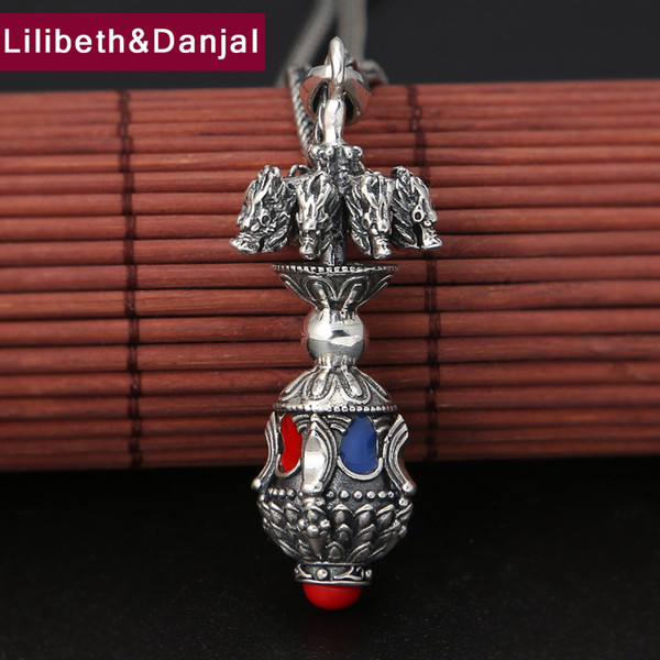 Buddha Pendant 100% 925 Sterling Silver Jewelry Men Women Vintage Dragon Vajra Charm Necklace Pendant 2018 Jewelry Making P83