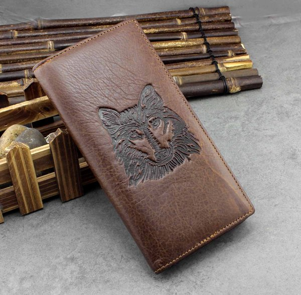 Mens Casual Billfold Card Holder Long Real Leather Wallet with Money Solts