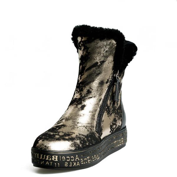 Hot venda- 2020 Top Quality inverno quente botas de neve mulheres couro genuíno de Inverno botas curtas sapatos de mulher planas Salto Fur tornozelo