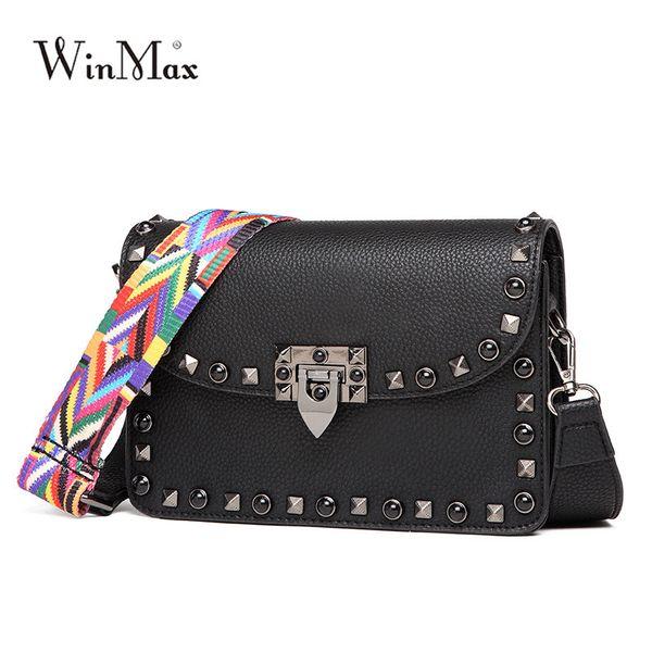 2018 Winmax Women Small Flap Rivet Hand Clutch Bags Female Leather Fashion Crossbody Bag Ladies Messenger Shoulder Bag for Girls