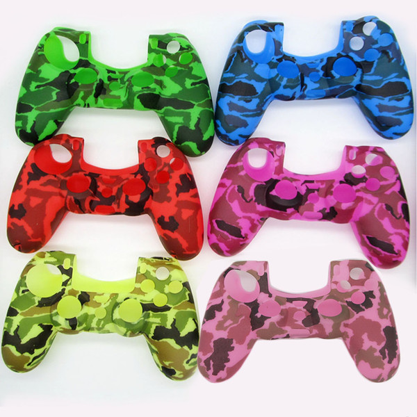 Water Transfer Printing Camo Camouflage Silicone Rubber Protective Controller Case for PS4 Gamepad Skin Cover DHL FEDEX EMS FREE SHIPPING