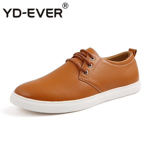 YD-EVER Leather British Style Luxury Shoes Man Casual Shoes Men Business oxfords lace up big plus size sneakers soft