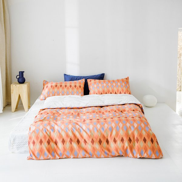 Lucky King Orange Cotton Three-Piece Set Colorful Diamond Pattern Duvet Cover Set Natural Ultra Soft Home for Adults Room Bed Sheet Sets