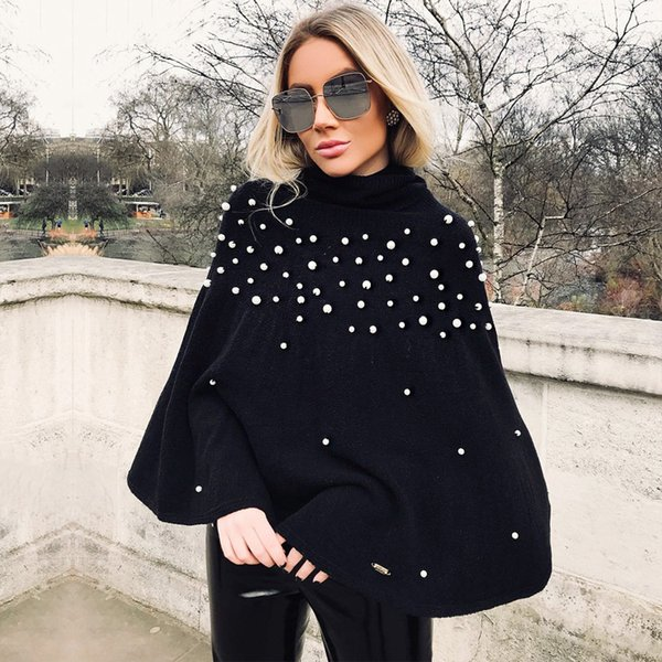 Turtleneck Knitted Winter Sweater Women Knit Loose Pullover Jumper Pull Femme Pearl Beaded Oversized Sweater Cape