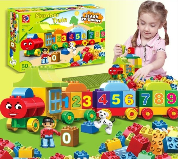 50pcs Large Particles Numbers Train Building Blocks Bricks Educational Baby City Toys Compatible With Duplo MX190730