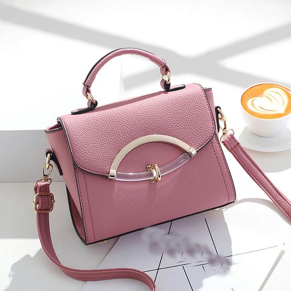 Bolsa de cuero para mujer Bolsos Fashion Lock Small Fresh Shoulder Messenger Bag para mujeres bolsas de hombro cubierta rosa bolso para mujer # g7