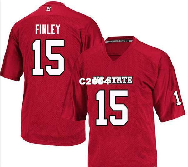 Men NC State Wolfpack Ryan Finley #15 real Full embroidery College Jersey Size S-4XL or custom any name or number jersey