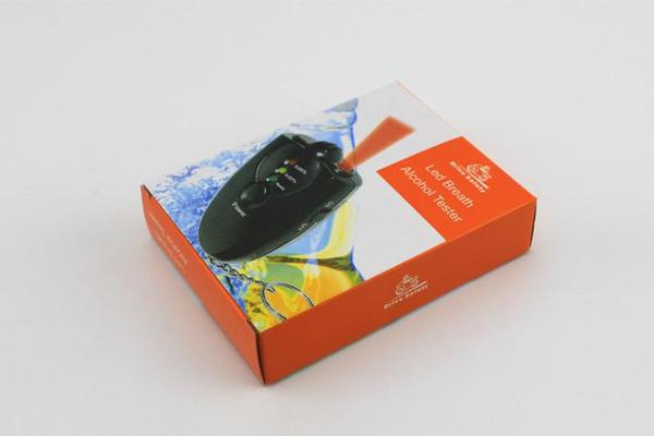 Com Caixa de Varejo Portátil mini Chaveiro LED Alcohol Breath Tester Bafômetro com FlashLight Frete grátis