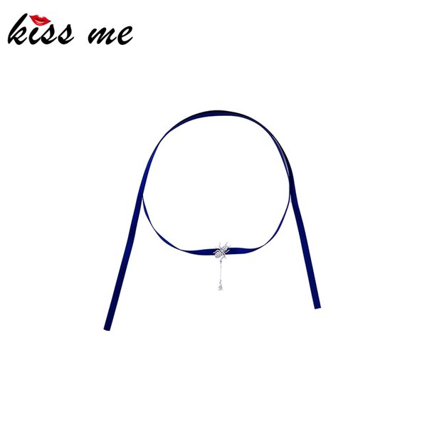 kissme unique insect choker necklace for women long dark color ribbon delicate crystal brass spider necklace new fashion jewelry