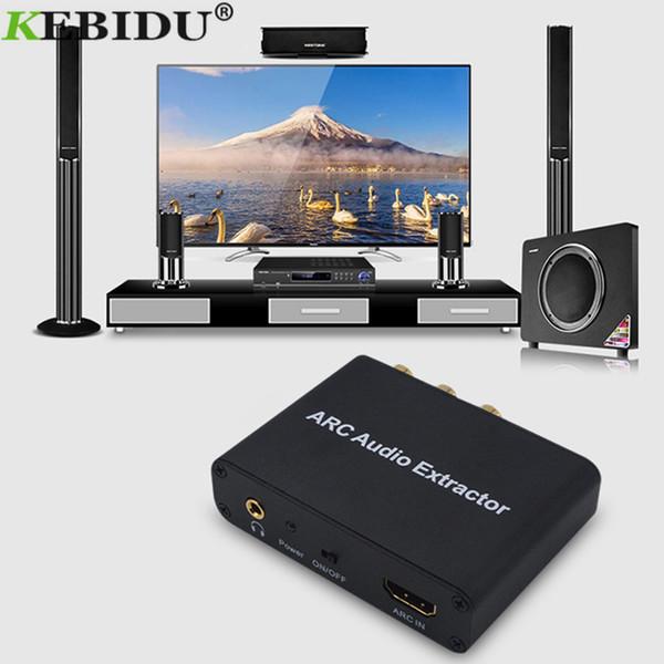 Kebidu HDMI Audio Adapter ARC Extractor de audio con óptica digital TOSLINK SPDIF Coaxial y analógico de 3,5 mm L / R estéreo