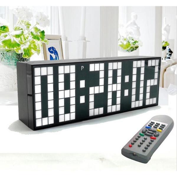 Grand grand écran Horloge LED Jumbo Table Bureau mur d'alarme Télécommande calendrier minuterie numérique LED Watch Blue Clock