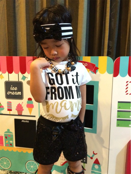 2019 Ins Baby Girls Clothing Sets Short Sleeve T-shirt + Sequins Shorts + Headband 3PCS Suits Outfits Summer Kids Clothes Set 2-6T A32104