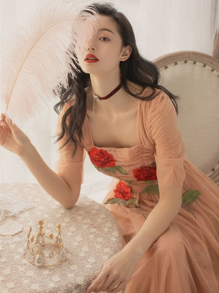 Best Quality Series# Bridesmaid Long Dress Peach Pinkn Mesh Embroidery Floral Women Party Wedding Prom Fashion Ruched Dresses 8085