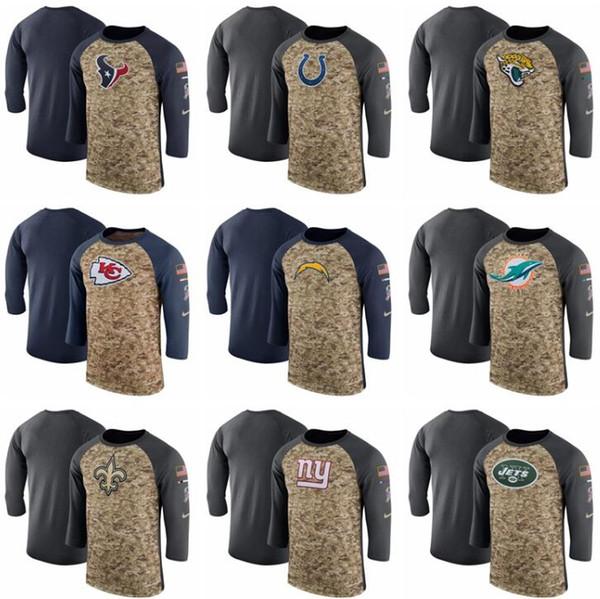الرجال Texanss Coltss Jaguarss Chiefss Chargerss Saintss Giantss Jetss تحية إلى خدمة الخط الجانبي الأداء ثلاثة أرباع كم T-شير
