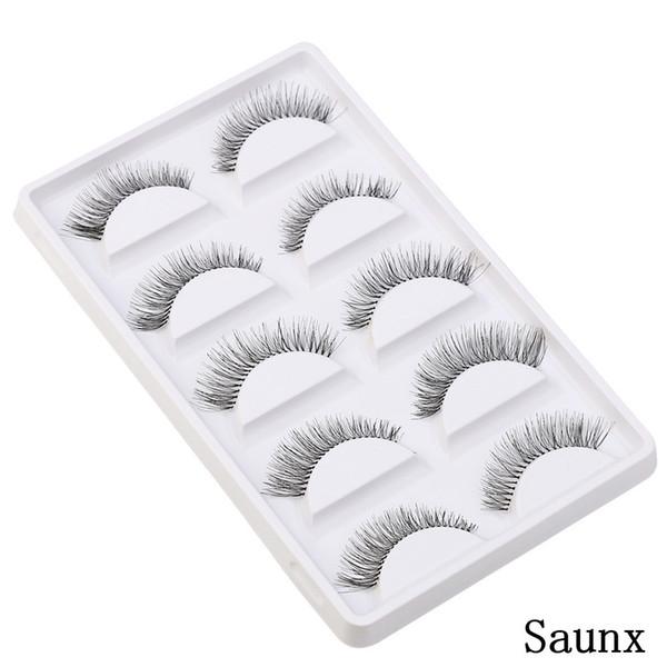 5 pairs thick long cross party false eyelashes black band fake eye lashes dramatic volume false eyelashes makeup silk eyelash