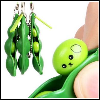 Engraçado Fidget Brinquedos Squeeze Extrusão Feijão Chaveiros Soybean Keyring Anti-ansiedade Brinquedos De Descompressão Com Pacote de Varejo