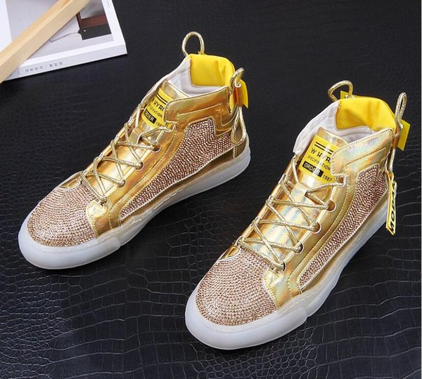 Hommes automne mode strass or argent tCausal Bottines en cuir respirant High Top Loisirs Chaussures Homme Jeunesse Trending