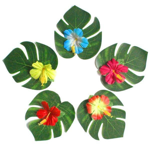 SF DHL Foglie di palma tropicale artificiale e fiori di ibisco di seta Decorazioni per feste Foglie di Monstera Hawaiian Luau Jungle Beach Materiale per feste a tema