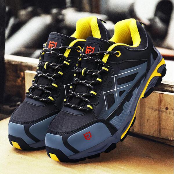 LARNMERN WorkSafety Çizmeler Çelik Burunlu Ayakkabı Ayakkabı Nefes Bahar Yaz Kauçuk kaymaz Anti-statik Geceleri Çalışmak İçin