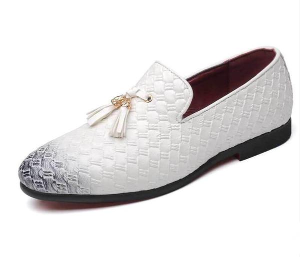 Tassels Mens Dress Shoes in pelle intrecciata Oxford scarpe per uomo Mocassini Italia Black White Derby formale scarpe da sposa Plus Size 38-48