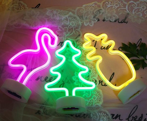 Cartoon Neon Retro Real Glass Tube Neon Light 3D Sign Decor LED Night Lamp Flamingo Cactus Shape AA Battery Desk Lamp Home Xmas Wedding 2019
