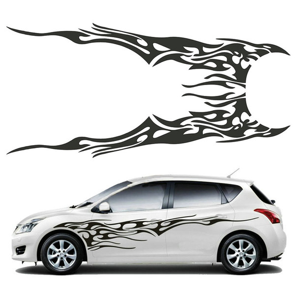 2PCS Universal Car Side Body Vinyl Sticker Flame Large Graphics Decal DIY Decoration 210.5x48cm