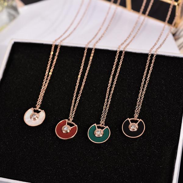 Weiße perle shell Anhänger Hohe qualität Rose Gold Kette Halskette Grün Rot Anhänger Luxus Marke Hochzeit Halskette für Frauen