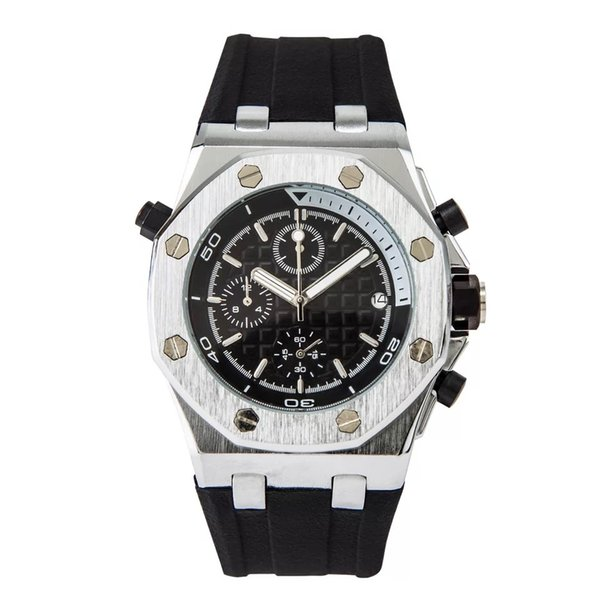 Alle Subdials Arbeit Luxus Herrenuhren Silikonband Freizeit Quarz Armbanduhren Stoppuhr Uhr Mann relogies Männliche Uhr Uhren Bestes Geschenk
