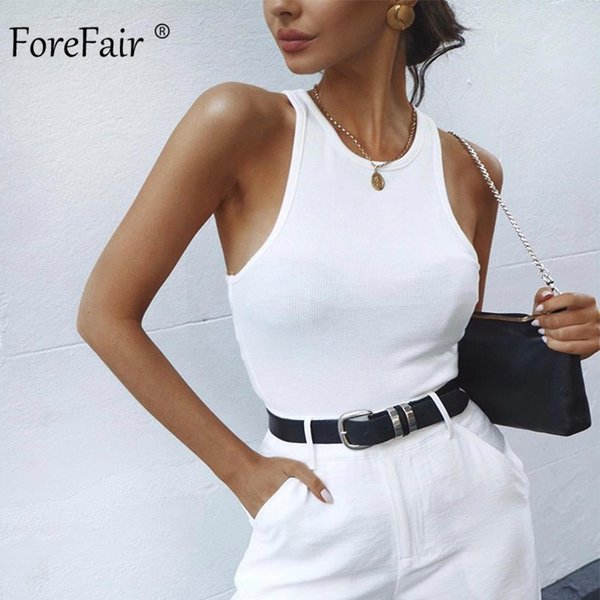 top popular Forefair Ribbed Tank Summer Tops Woman Knitted Cotton Vest Club Streetstyle Basic Solid Black White Bodycon Sexy Crop Top Women Y200512 2021