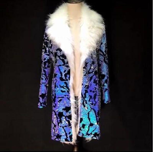 New Fashion Bar Nightclub DS male performance Hip Hop stage costume Colorful blue sequins fur Coat Men slim Windbreaker jacket