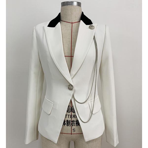 2019 Designer Blazer Jacket for Women Single Button Metal Chain Decoration Color Block Collar Slim Fitting Blazer Small suit top J1