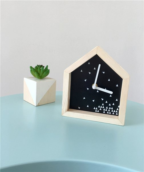 INS Nordic style wooden shelves Children Room wood house silent clock wall decoration Wall craft Home ornament
