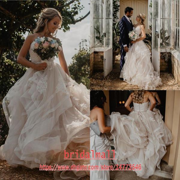 Bohemian 2020 Romantische Applikationen Tüll Brautkleider Liebsten Boho Strand Brautkleider Reißverschluss hinten Brautkleid Individuelle Robes de mariée