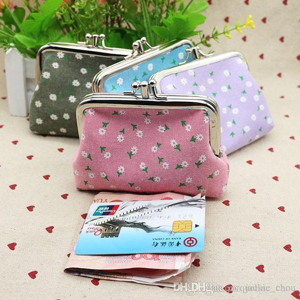 Sexy2019 Korea Style Short Size Cotton Mini Wallet Floral Printing Buckle Coin Purse Creative Student Card Holders 12*9cm Lqb-013