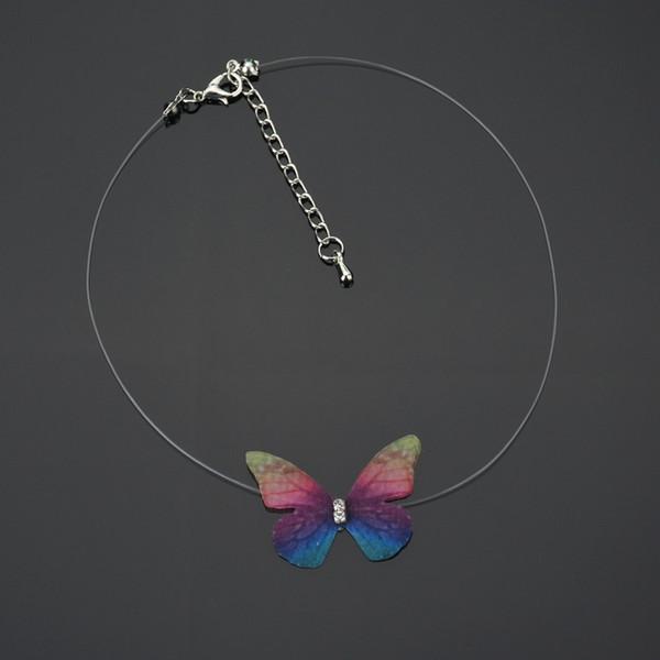 Terreau Kathy Nouveau Créateur de Mode Cristal Coloré 3D Fil Papillon Tour de Cou Invisible Fishline Soie Collier Ras Du Cou pour Femmes