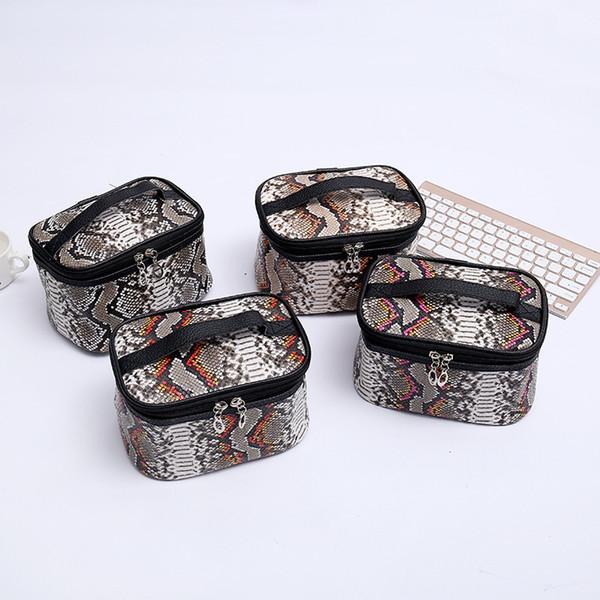 Casos PACGOTH Moda PU Leahter cosméticos para mulheres Vintage Handle Viagem Casual Bolsas Serpentine Barrel-Shaped Maquiagem Bags, 1PC