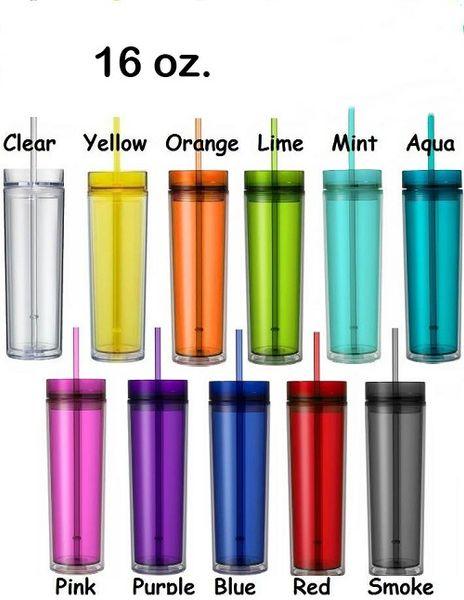Заводская цена 16 унций тощий акриловый стакан с крышкой и соломой 480 мл с двойной стенкой прозрачный пластиковый стаканчик BPA бесплатно 16 унц. Прямая бутылка с водой