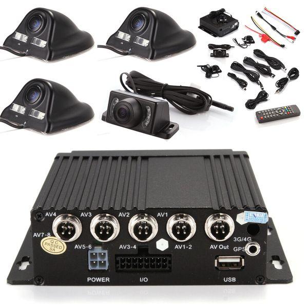 Coche DVR 4ch Vehículo Coche Móvil DVR Seguridad Grabador de video SD +4 CCD Cable de cámara Control remoto