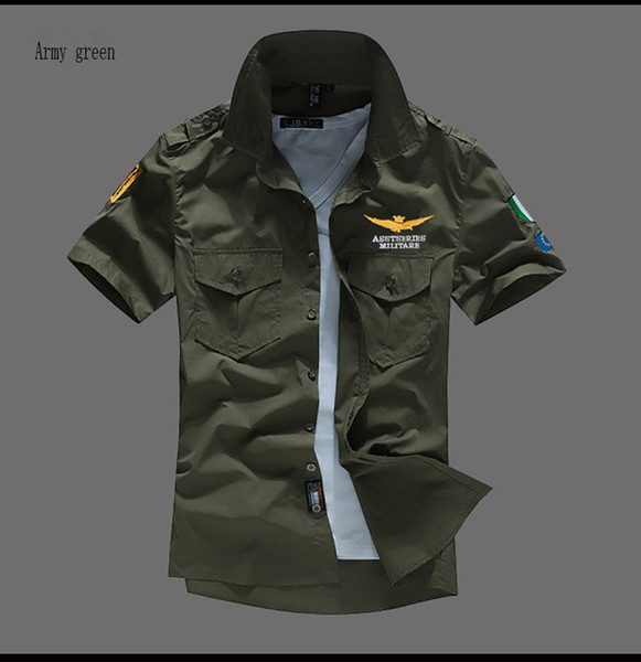 best selling Summer BRAND New NASA Flight Pilot Men's Short-sleeved shirt MA-1 casual shirts Embroidery Asstseries Militare For Mens shirts 5 colours