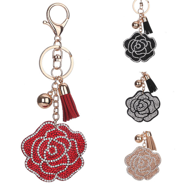 Fashion Jewelry Keychains Rhinestone Crystal Rose Flower Key Chain Rings Tassel Handbag Hangs Gift Car Charms Keyring for Women Gold 4 Color