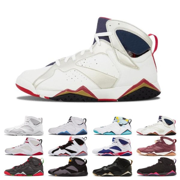 High Quality 7 7s Raptor Bordeaux Hare Tinker Alternate Jumpan Men Basketball Shoes French Blue Sweater UNC GMP Olympic Sneakers With Box