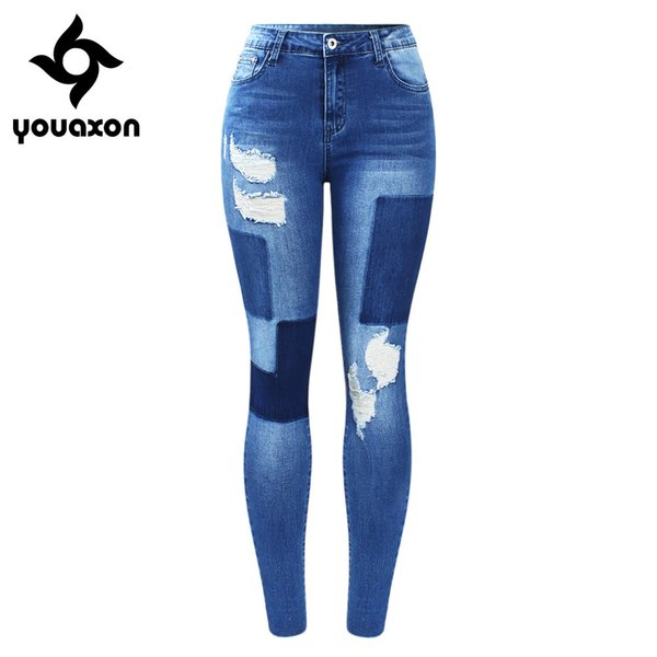 Youaxon New Stretchy Fake Patches Jeans Woman Blue Ripped Denim Pants Trousers For Women Pencil Skinny Jeans T3190605