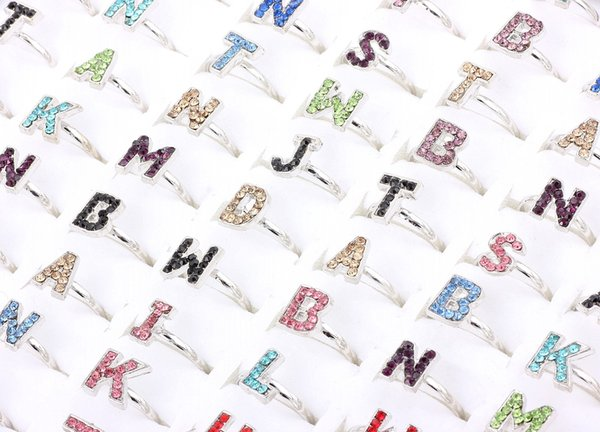 Top Quality Advanced Alloy Rhinestone Letters Ring New Mixed 50Pcs Man And Woman Charm Luster Rings 6-8