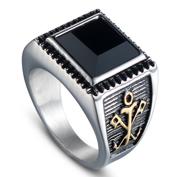 Bnwige 2019 New Stainless Steel Tungsten With Big Square Black Stone Ring High Quality Simple Accessories Jewellery