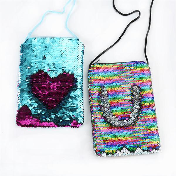 5Styles Mermaid Sequins Coin Purse With Lanyard mermaid Coin Pouch Bag Portable Glittler Wallet Keys Storage Bag Girl bag FFA1796 300pcs