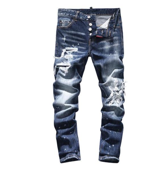 D2019 Высокое качество, мода, Новый Стиль, Марка, мужские Джинсовые Джинсы, Вышивка, Тигровые Брюки, Отверстия, Джинсы, Молнии, Мужчины, Эластичные джинсы # 8635